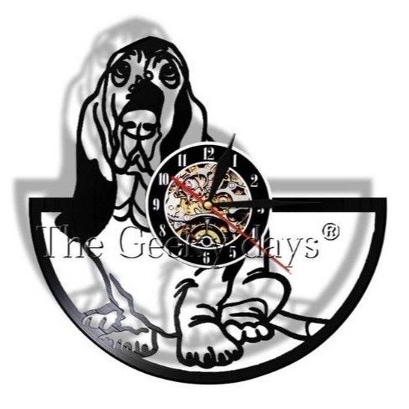 輸入雑貨 バセットハウンド 犬 ドッグ Dog 壁アート ヴィンテージ 30cm レコード盤 壁掛け時計 人気  インテリア ディスプレイ