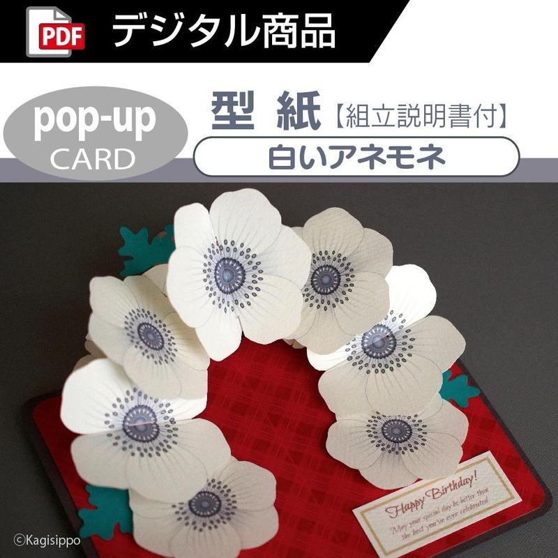 【型紙】白いアネモネ(ポップアップカード)[PDF]
