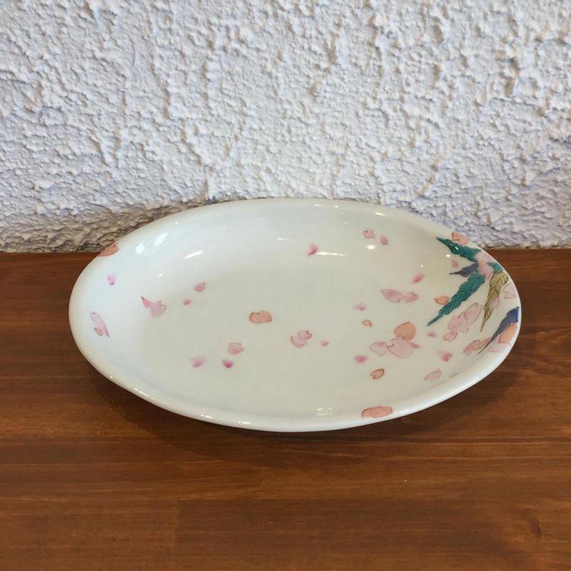 九谷焼 色絵桜 楕円皿