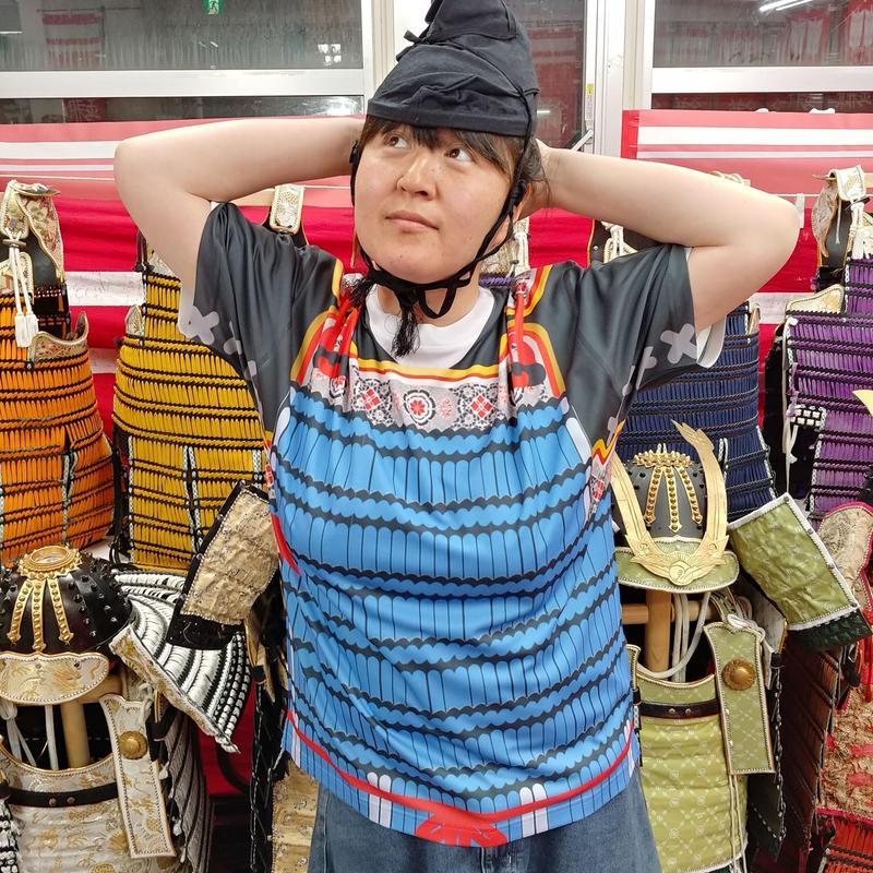 【予約販売】鎧風Tシャツ 青絲縅の胴丸タイプ -ドライTシャツ-