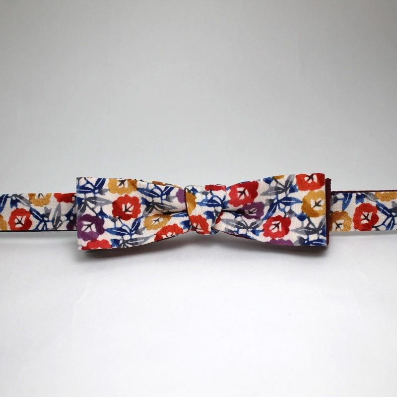 蝶ネクタイ KIMONO fabric 型友禅 上京蝶帯 #368