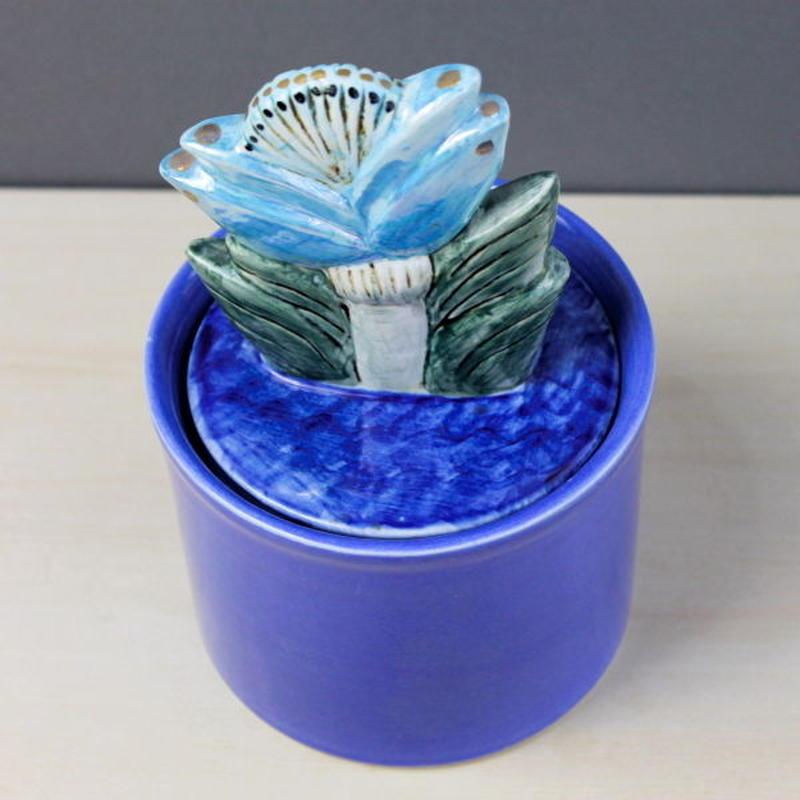 Jar with Lid  big flower  / ジャー  大きな花