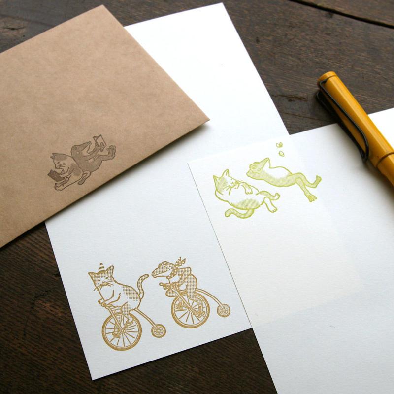 猫とカエルのレターセット(活版印刷)