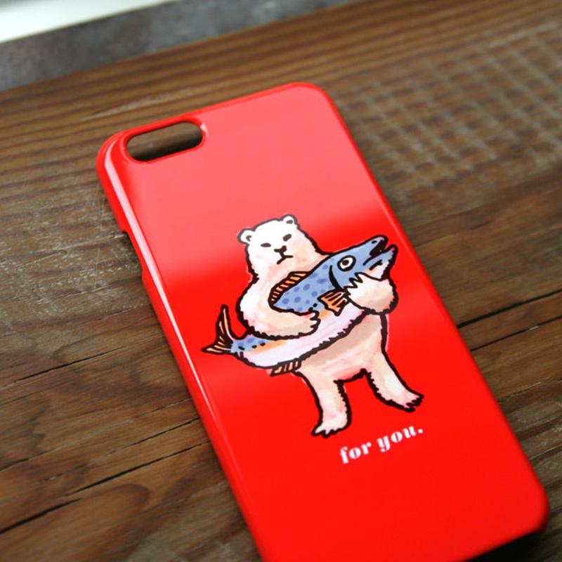 スマホケース シロクマのプレゼント(レッドオレンジ)