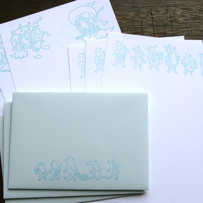 活版印刷レターセット(ベビーブルー)
