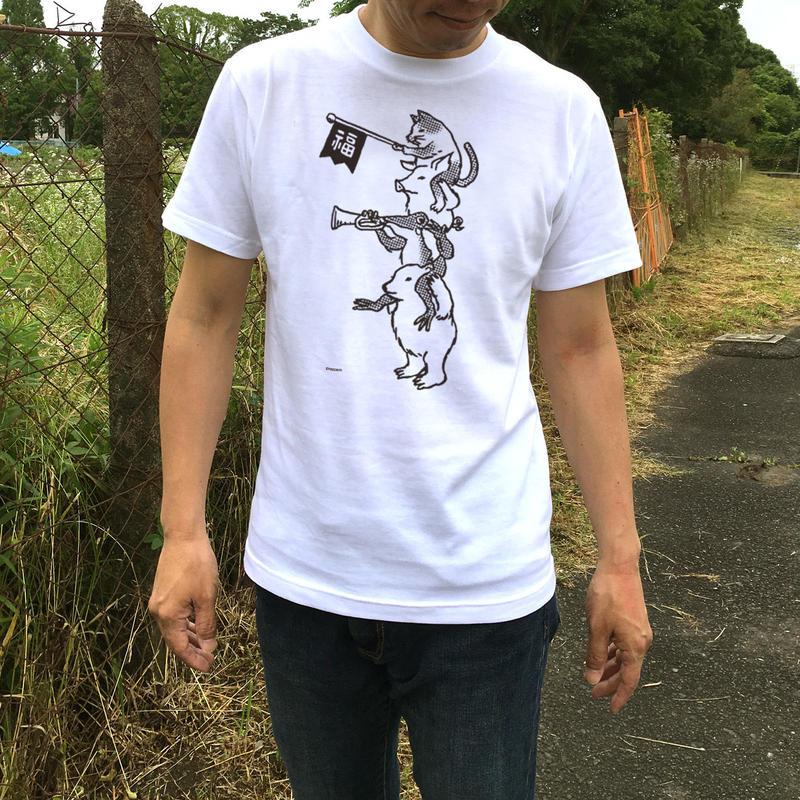 猫とカエルのTシャツ「ちからをあわせて」(ホワイト)男女兼用【受注生産・送料無料】