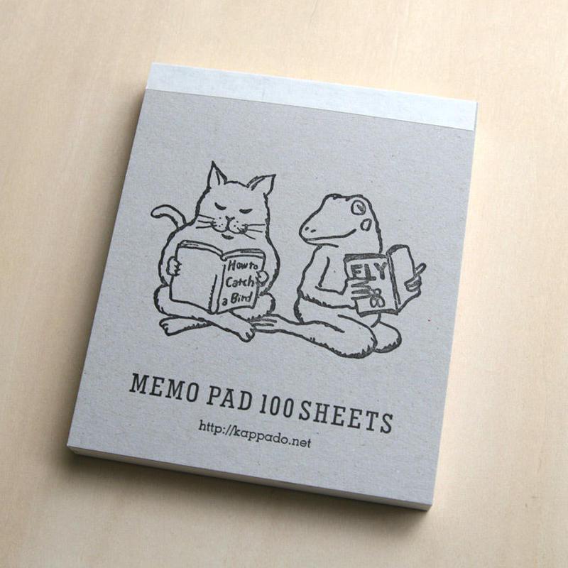 メモパッド 猫とカエルが読書