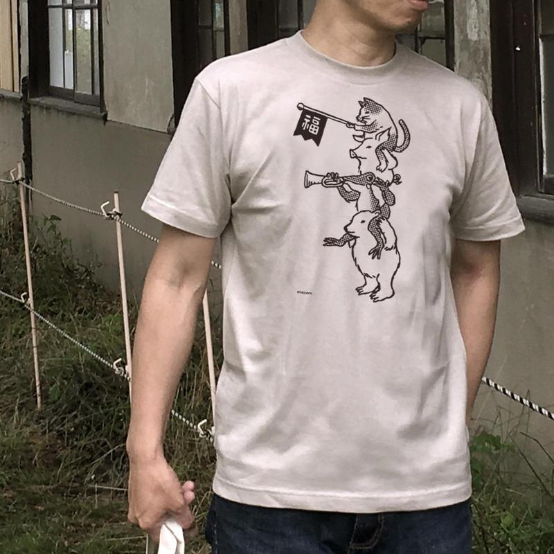 猫とカエルのTシャツ「ちからをあわせて」(グレーベージュ)男女兼用【受注生産・送料無料】