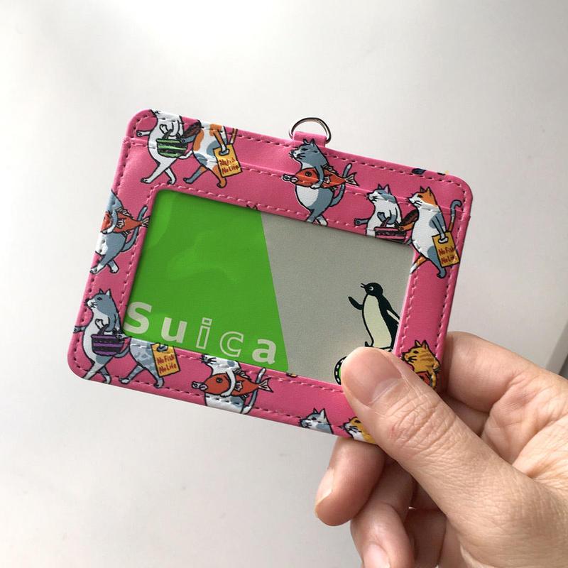 パスケース 猫たちお買い物(ピンク)