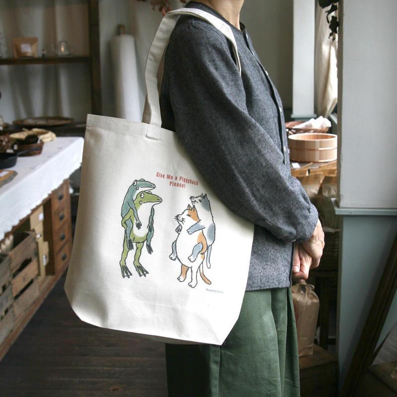 トートバッグ 猫とカエルおんぶ(受注生産・送料無料)