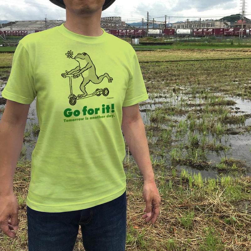 Tシャツ「カエルコースター」(ライトグリーン)男女兼用【受注生産・送料無料】