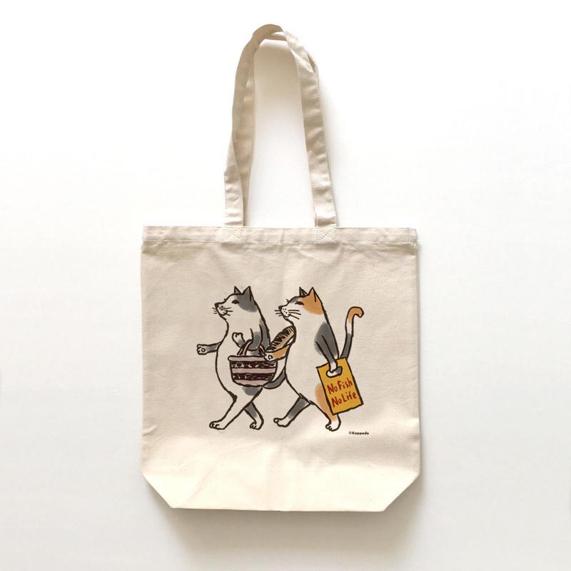 トートバッグ 猫たちお買い物(受注生産)