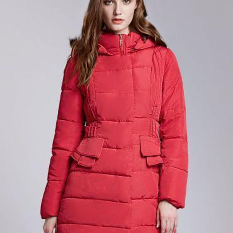 ポケット 口 ぺプラム 装飾 着やせ ロング丈 キルティング コート (フォックスファー襟)  大きいサイズ