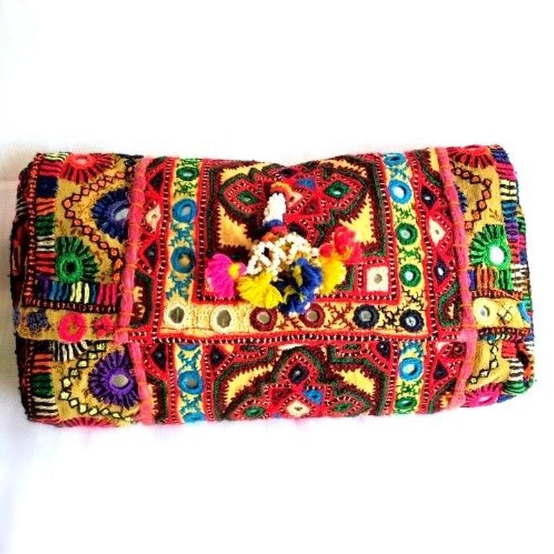カッチ刺繍 2wayクラッチバッグ 1点物《ctc1》ミラーワーク刺繍 ヴィンテージテキスタイル
