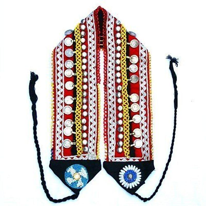 【SALE10%OFF】アフガンベルト 男女兼用 コインビーズ 民族ベルトkuchi《ab39》