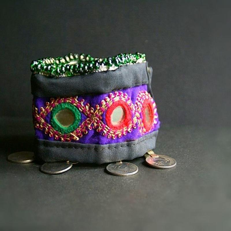 アフガニスタン ミラーワークブレスレット《F》コイン&ビーズ&刺繍