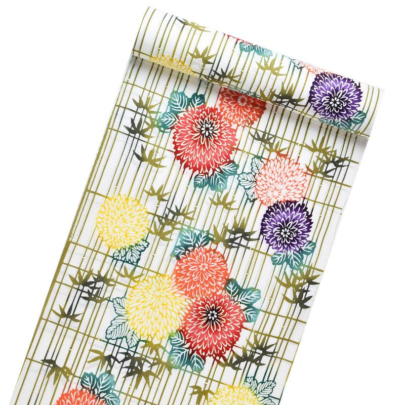 浴衣 / 白地・竹と菊