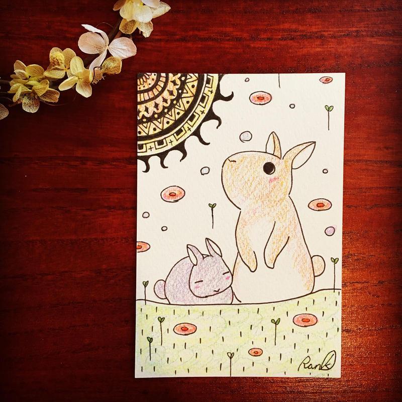 原画「ネバーランドのウサギたち」(額入り)