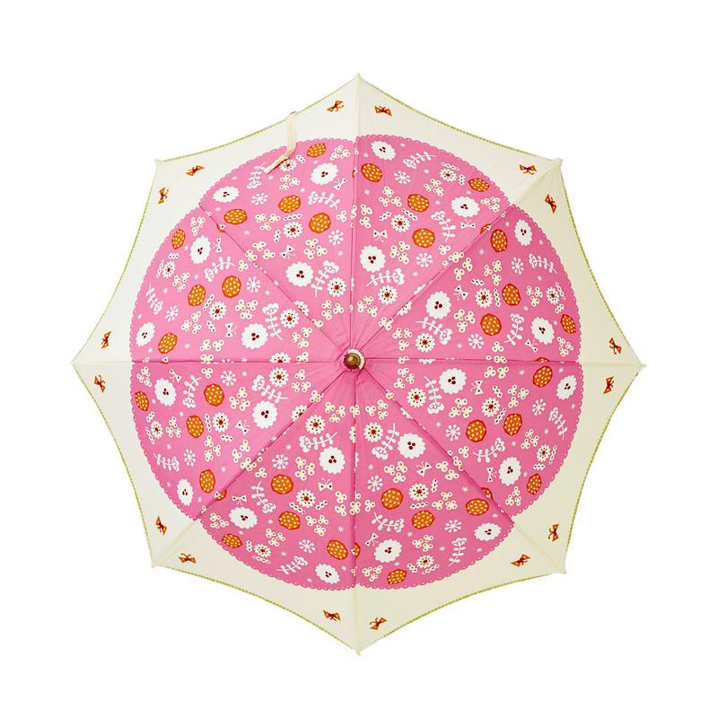 晴雨兼用パラソル(長傘) 花と蝶 ピンク