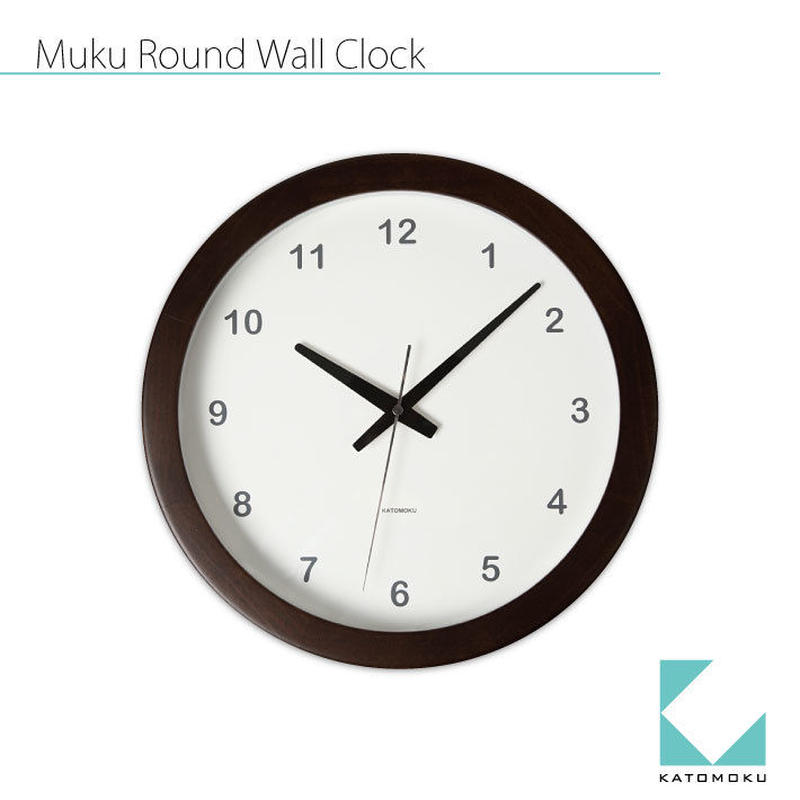 名入れ 木プレート KATOMOKU Muku round clock km-32B ブラウン 連続秒針