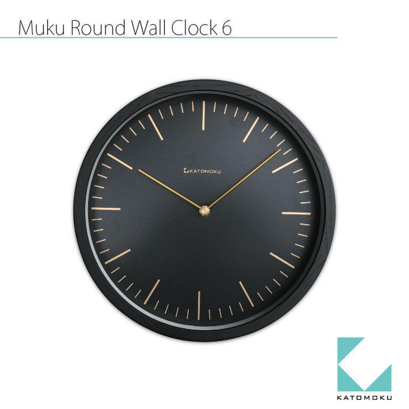 名入れ 木プレート KATOMOKU muku round wall clock 6 km-59BRC ブラック 電波時計 連続秒針