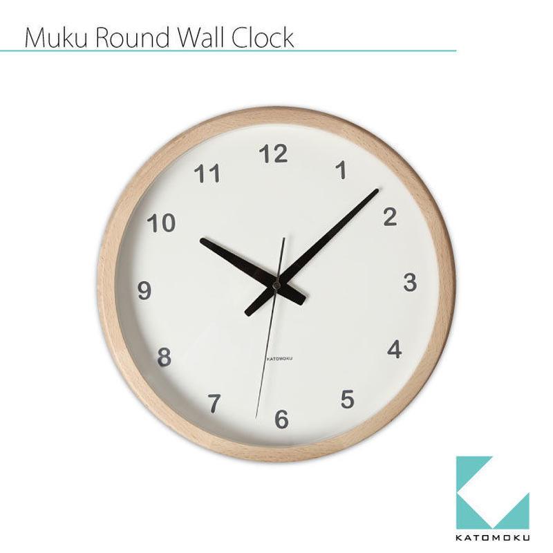 名入れ 木プレート KATOMOKU Muku round clock km-31N ナチュラル 連続秒針