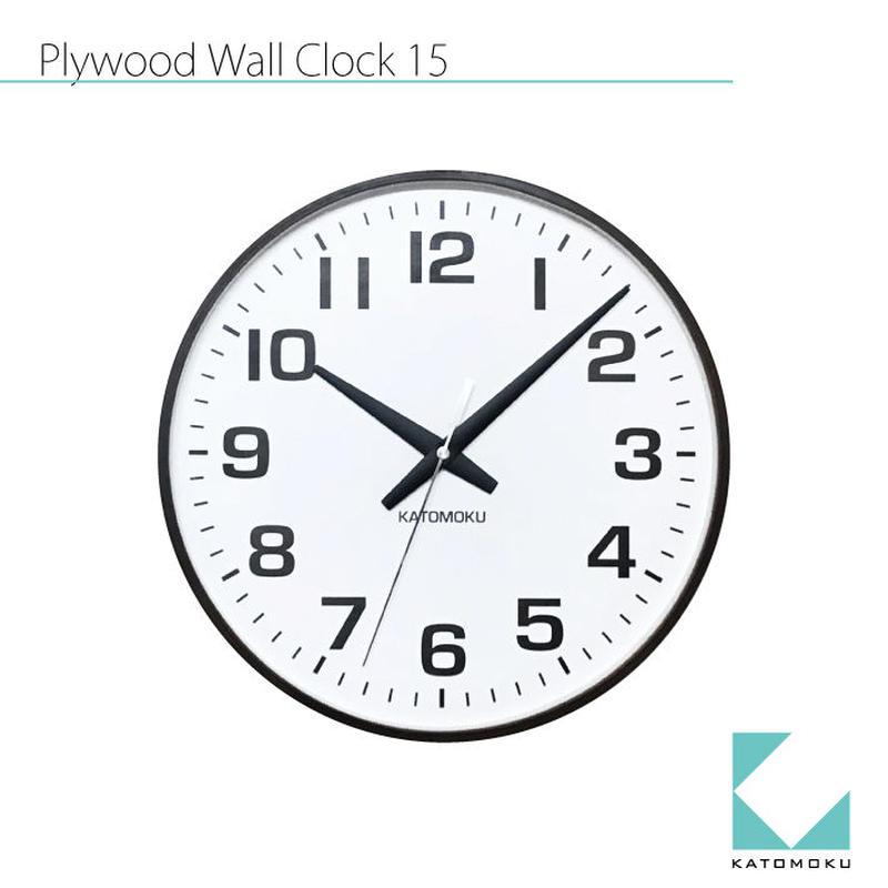 名入れ 木プレート KATOMOKU plywoood wall clock 15 km-92BRC ブラウン 電波時計 連続秒針