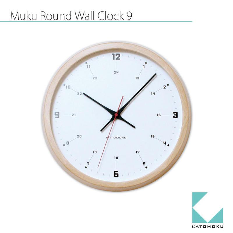 名入れ 木プレート KATOMOKU muku round wall clock 9 km-82NRC ナチュラル  電波時計 連続秒針
