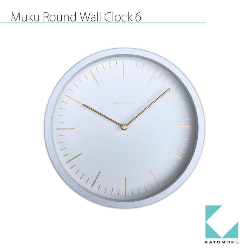 名入れ 木プレート KATOMOKU muku round wall clock 6 km-59WRC ホワイト 電波時計 連続秒針