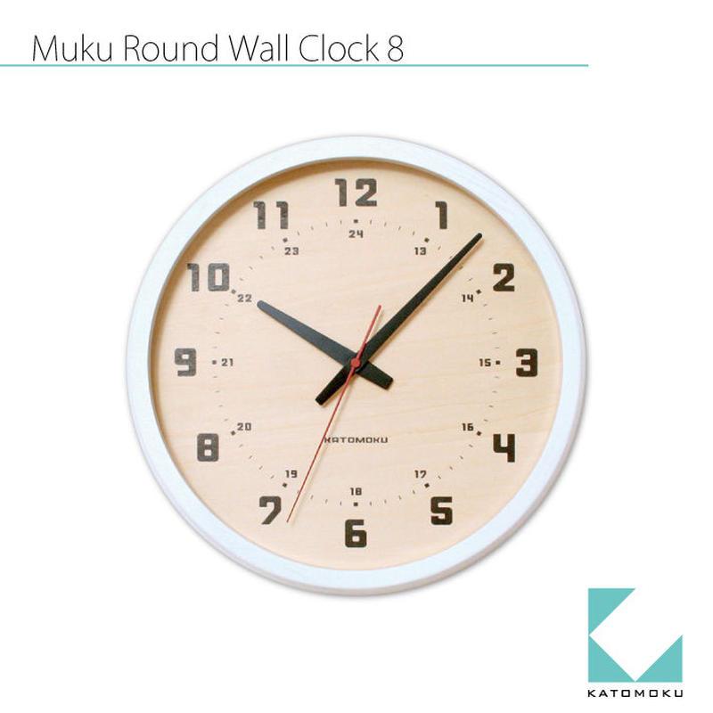 名入れ 木プレート KATOMOKU muku round wall clock 8 km-81WRC ホワイト シナ文字盤 電波時計 連続秒針