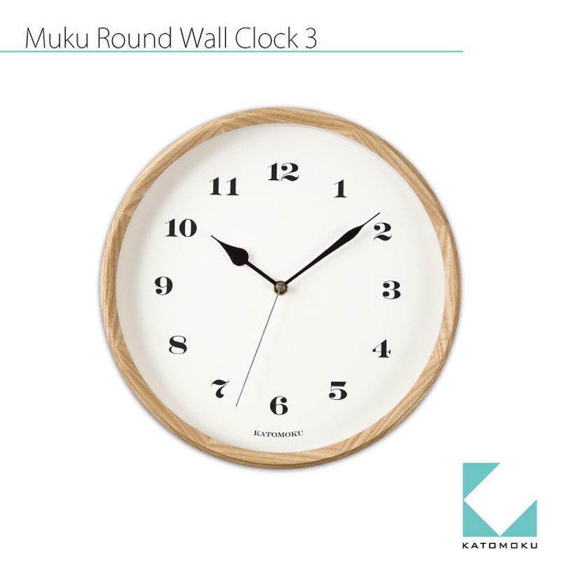 名入れ 木プレート KATOMOKU muku round wall clock 3 km-54N ナチュラル 電波時計 連続秒針