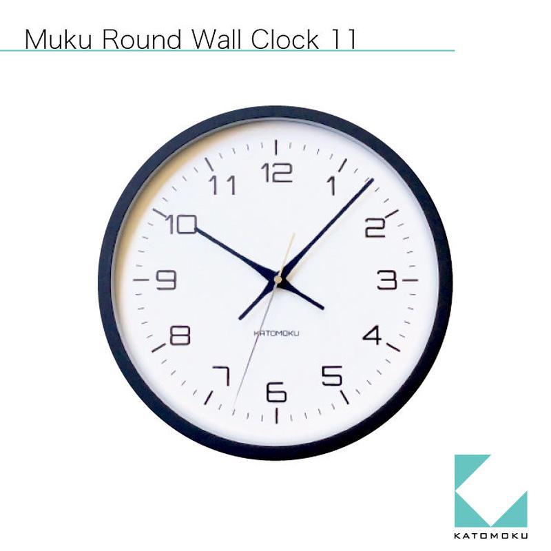 名入れ 木プレート KATOMOKU muku round  wall clock 11 km-94BRC ブラック 電波時計 連続秒針