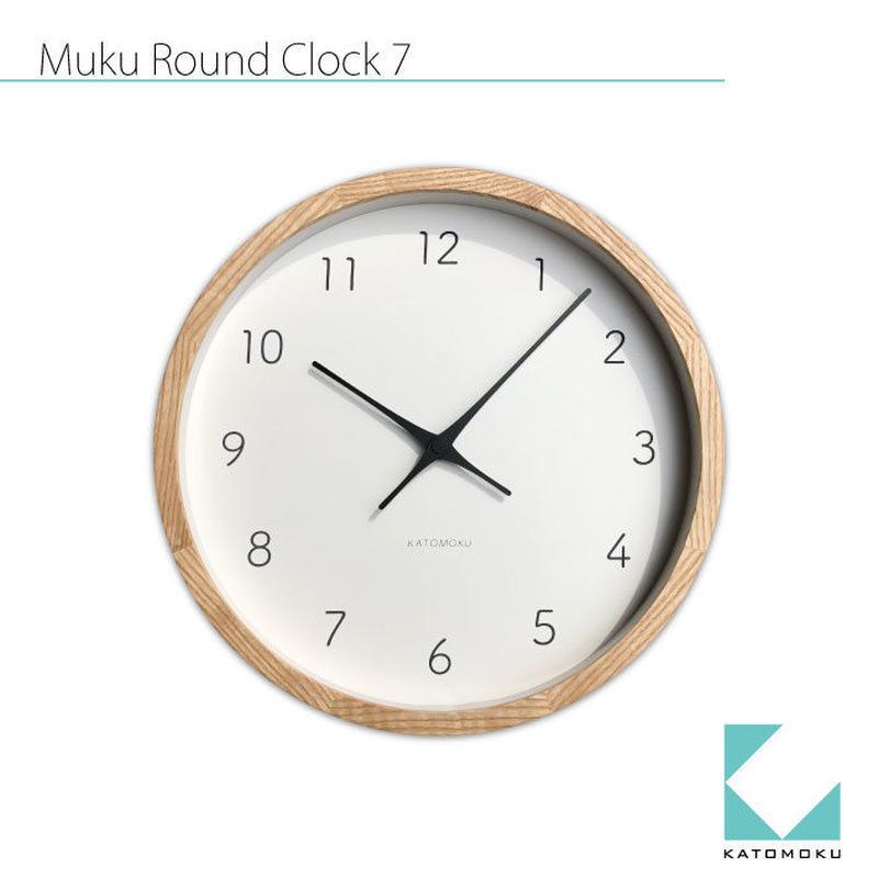名入れ 木プレート KATOMOKU muku round wall clock 7 km-60NRC ナチュラル 電波時計 連続秒針