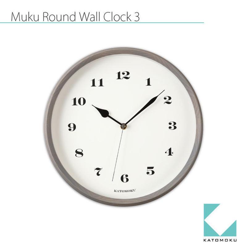 名入れ 木プレート KATOMOKU muku round wall clock 3 km-54GRC グレー 電波時計 連続秒針