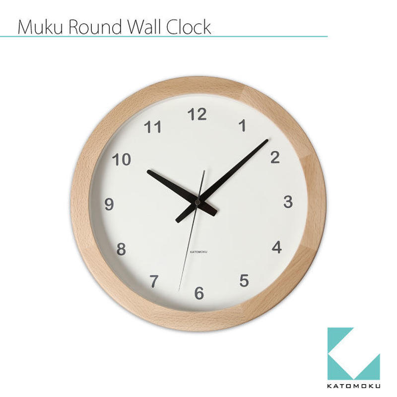 名入れ 木プレート KATOMOKU Muku round clock km-32 ナチュラル 連続秒針