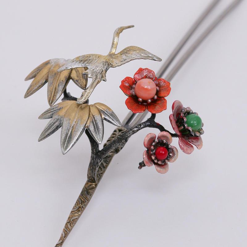 鶴と松と梅のアンティーク風 手作りかんざし (1点もの)