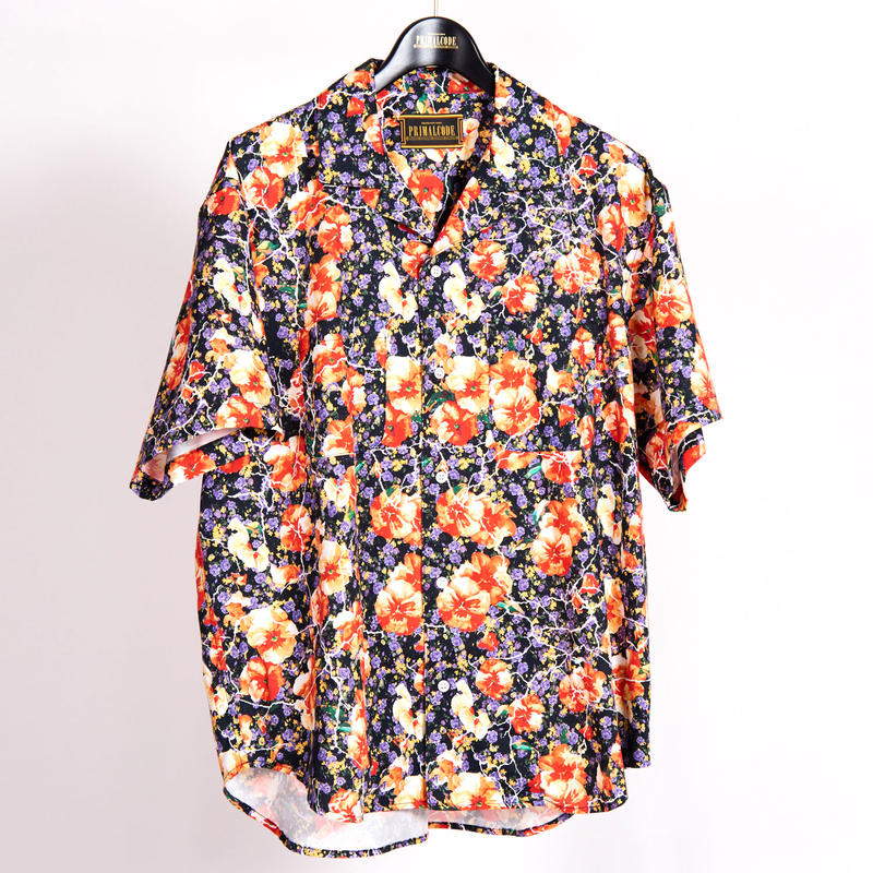 HAND PAINTED ORIGINAL FLOWER PATTERN SHIRTS(BLACK)