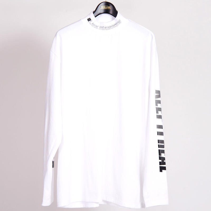 KEEP IT REAL MOCK NECK LONG SLEEVE TEE(WHITE)
