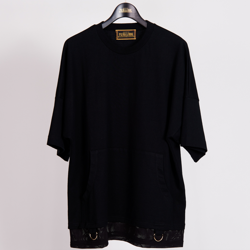 LAYERED POCKET TEE SHIRTS(BLACK)