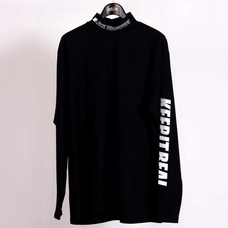 KEEP IT REAL MOCK NECK LONG SLEEVE TEE(BLACK)
