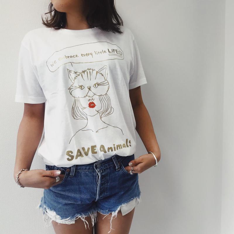 T-shirt/宮古島SAVE THE ANIMALS チャリティGoods Cat/White&Gold