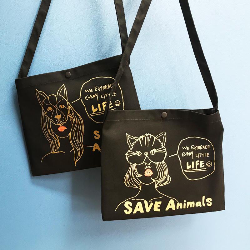 サコッシュ/宮古島SAVE THE ANIMALS チャリティGoods color:Black