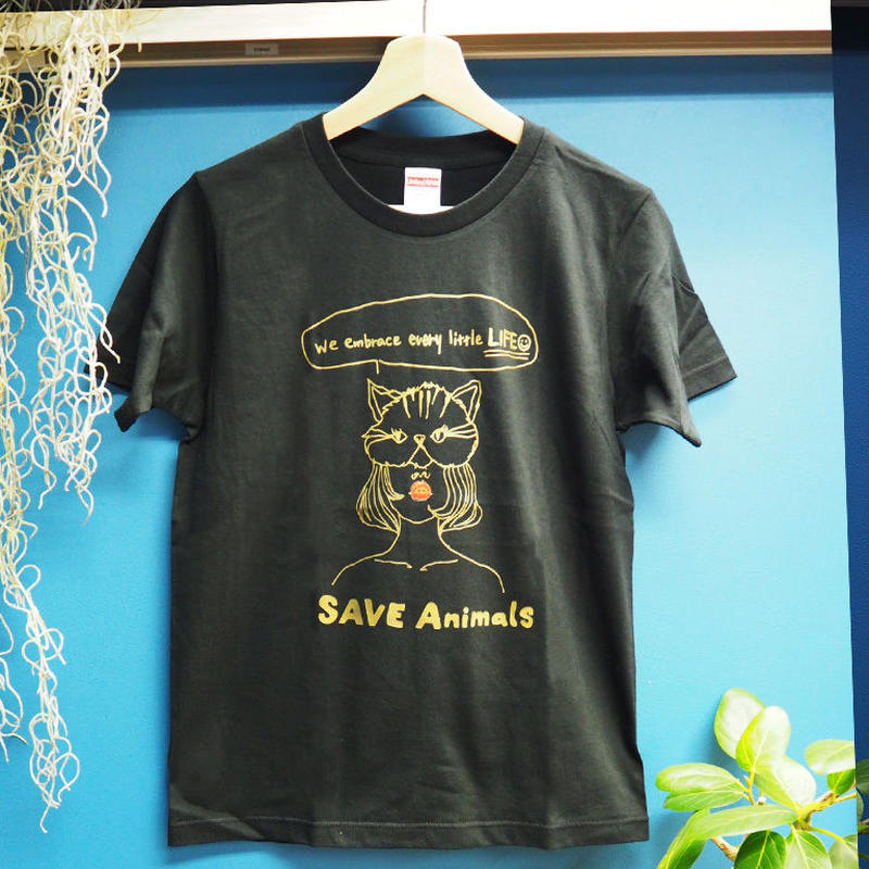 T-shirt/宮古島SAVE THE ANIMALS チャリティGoods  Cat/Black&Gold