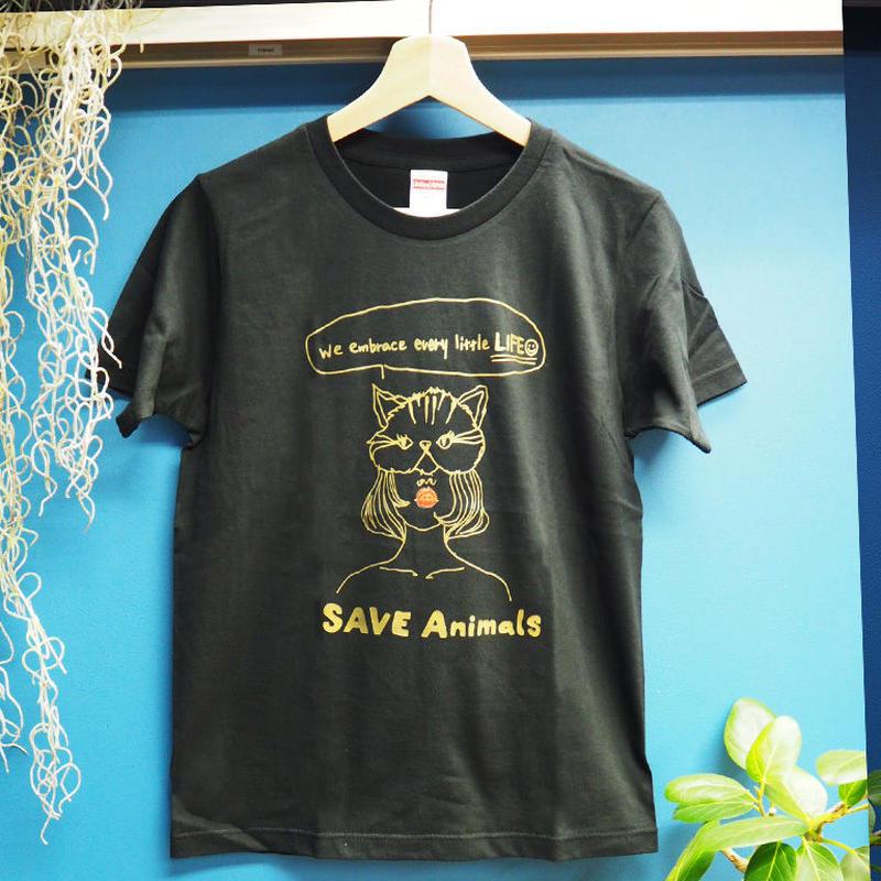 T-shirt/宮古島SAVE THE ANIMALS チャリティGoods  Cat/Black&Gold