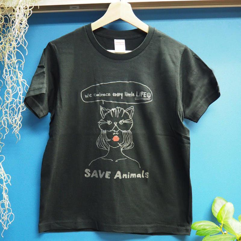 T-shirt/宮古島SAVE THE ANIMALS チャリティGoods Cat/Black&Silver