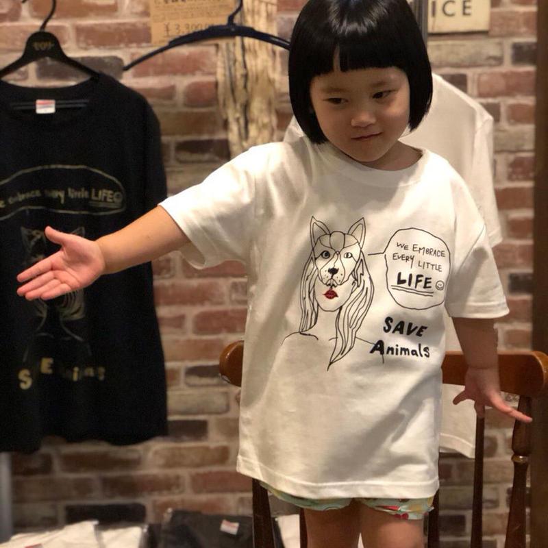 T-shirt/宮古島SAVE THE ANIMALS チャリティGoods  Dog/White&Black