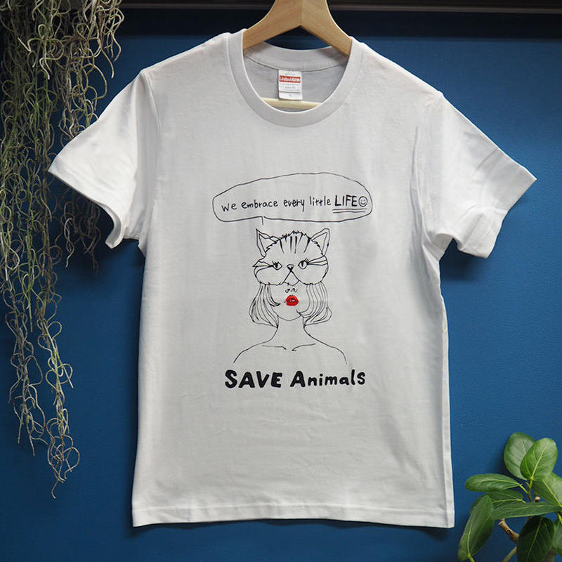 T-shirt/宮古島SAVE THE ANIMALS チャリティGoods  Cat/White&Black