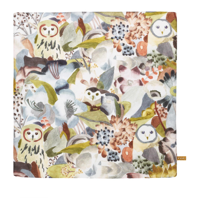 Handkerchief    Owl and Flower      ハンカチ フクロウ・花