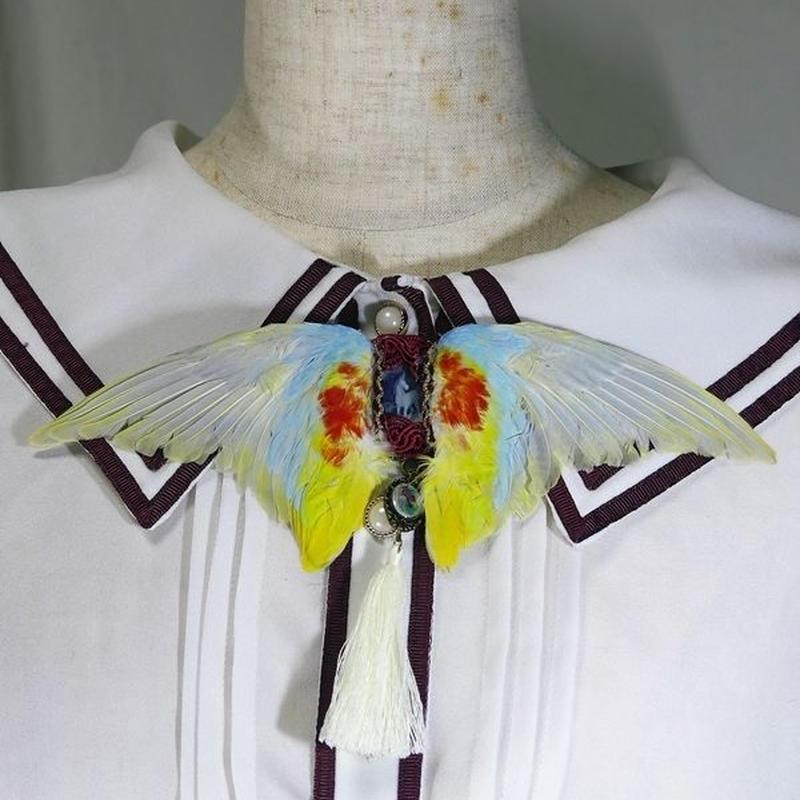 インコの翼ブローチ(黄)