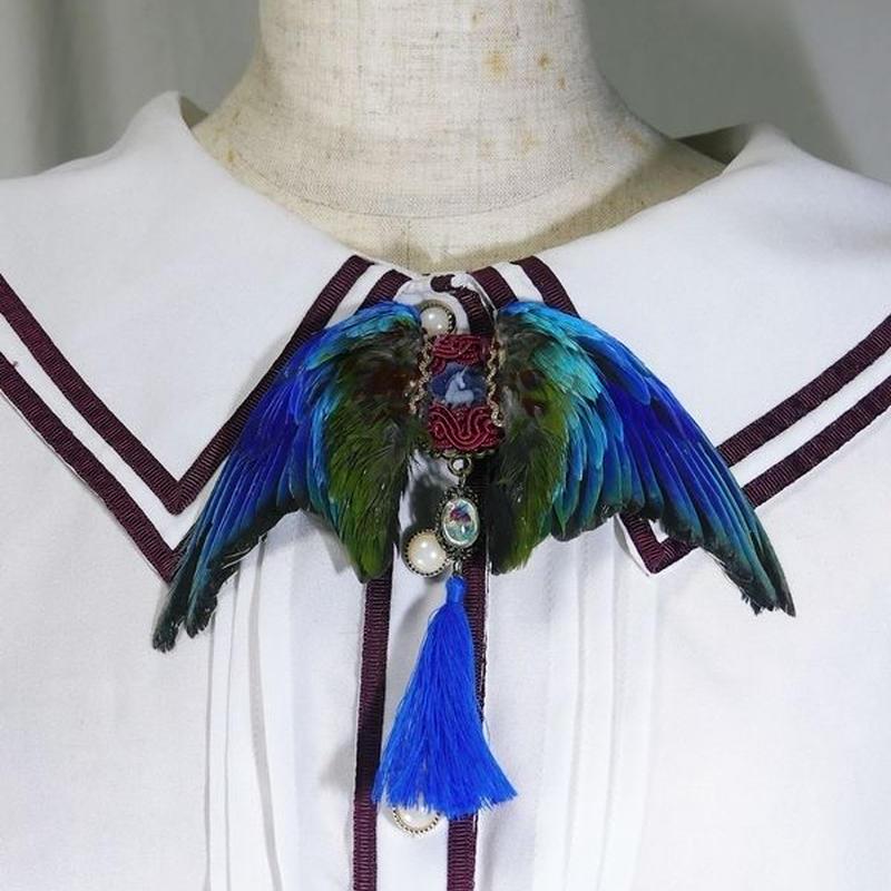 インコの翼ブローチ(青)